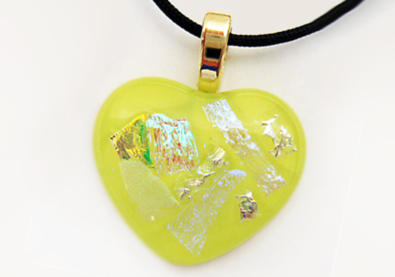 Heart Pendant Valentines Gift Dichroic Fused Glass Heart Necklace Bridesmaids Gift Bohemian Necklace X6320 Heart Necklace